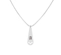 Solid Stainless Steel Old English Intial Teardrop Necklace by Pink Box