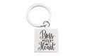 Pink Box Stainless Steel Inspirational Square Keychain