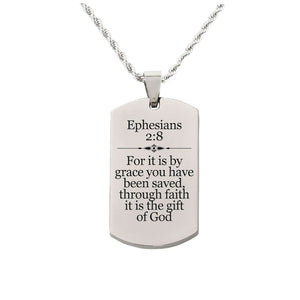 Solid Stainless Steel Scripture Tag Necklace  - Ephesians 2:8