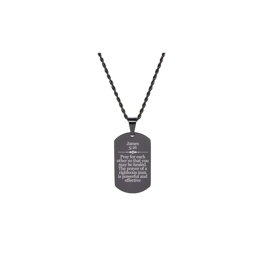 Solid Stainless Steel Scripture Tag Necklace  - James 5:16