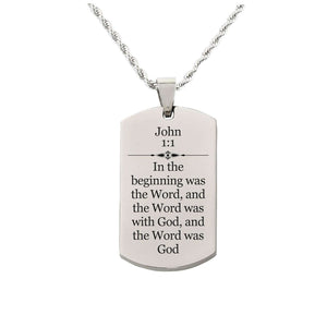 Solid Stainless Steel Scripture Tag Necklace  - John 1:1