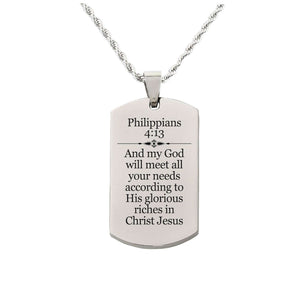 Solid Stainless Steel Scripture Tag Necklace  - Philippians 4:19