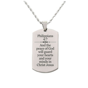Solid Stainless Steel Scripture Tag Necklace  - Philippians 4:7