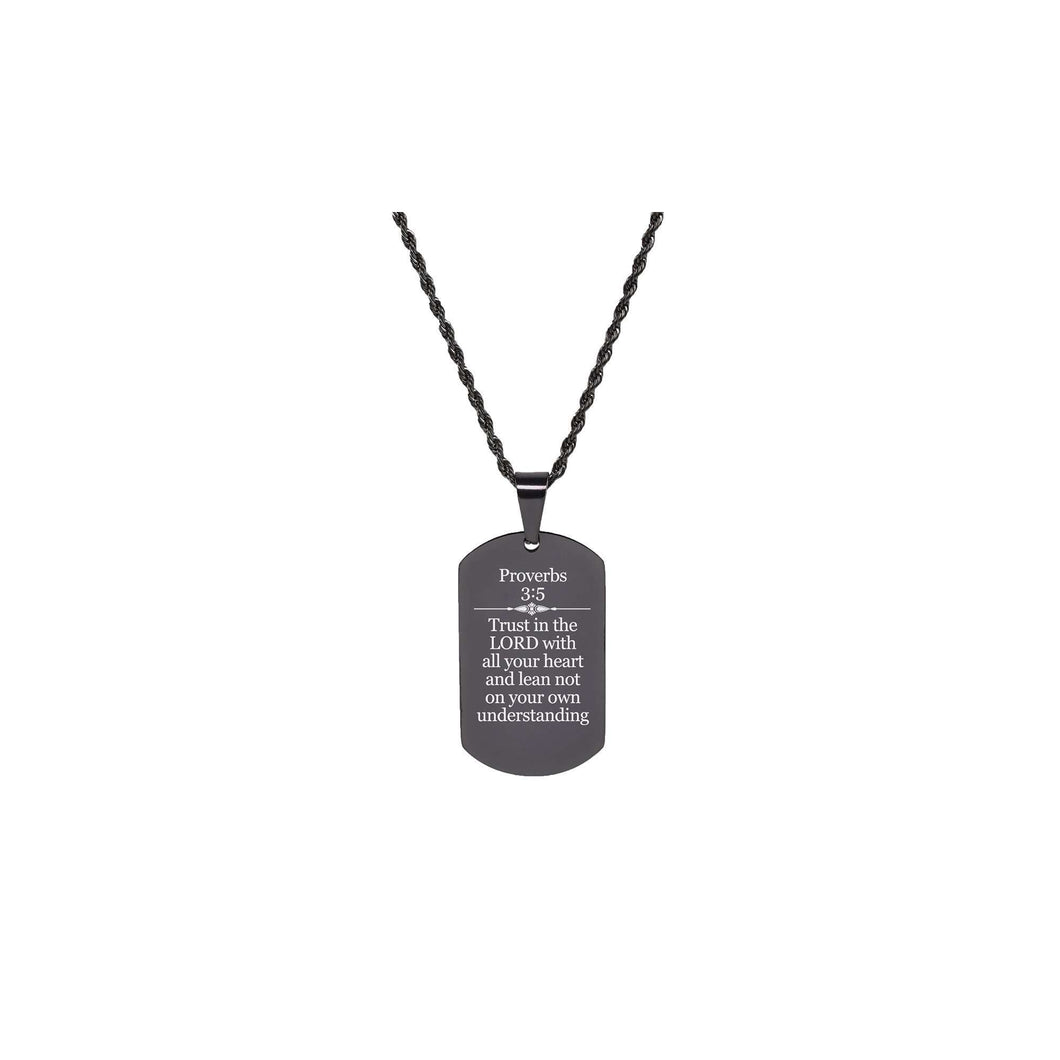 Solid Stainless Steel Scripture Tag Necklace  - Proverbs 3:5