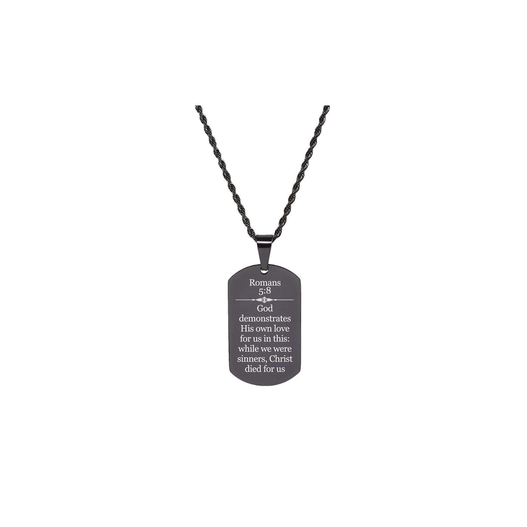 Solid Stainless Steel Scripture Tag Necklace  - Romans 5:8