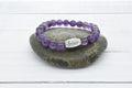 Genuine Amethyst Inspirational Beaded Bracelet by Pink Box