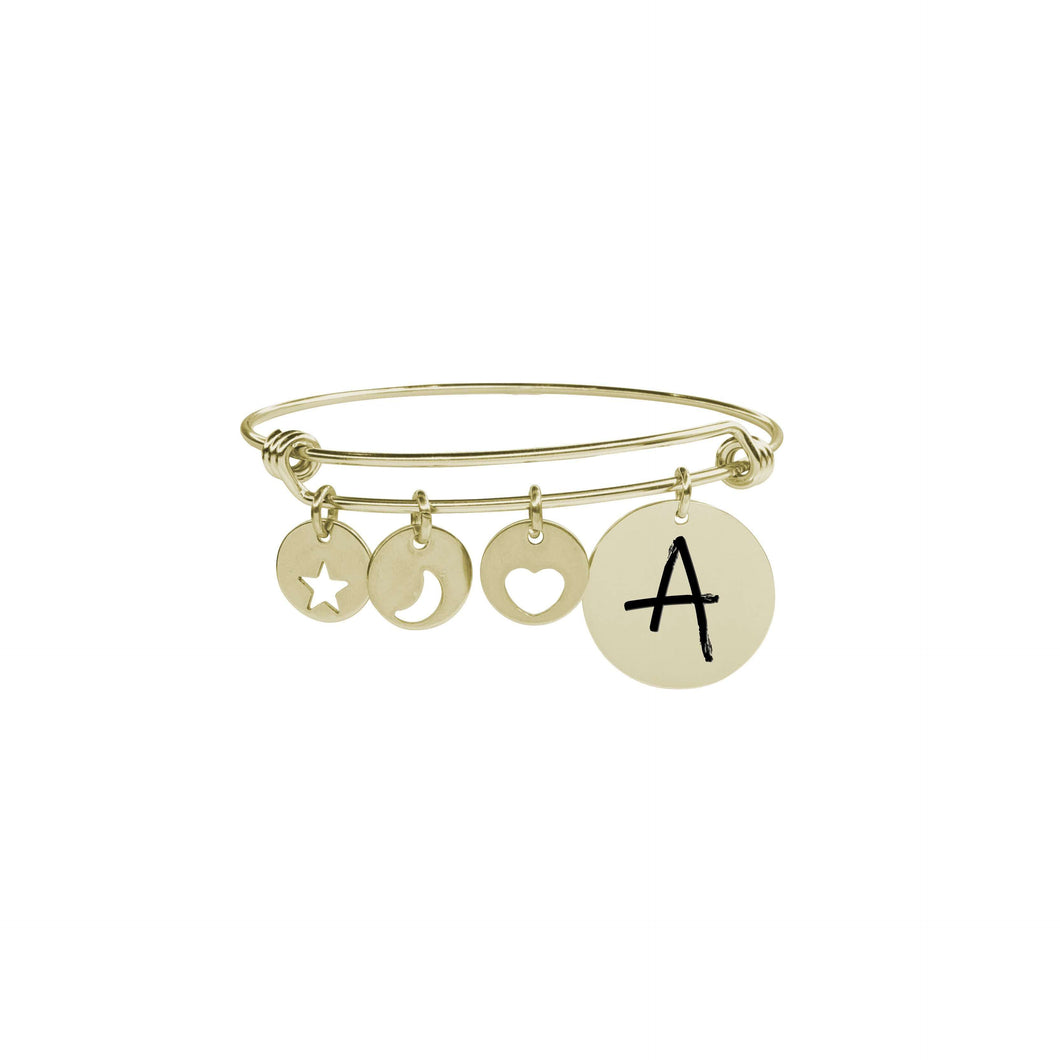 I Love You To The Moon Initial Charm Bangles By Pink Box