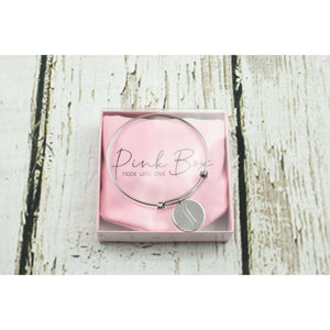 Solid Sterling Silver Monogram Initial Bangle By Pink Box