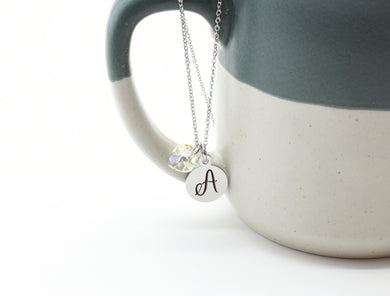 Dainty Initial Disc Necklace Made With Precision Cut Crystal By Pink Box