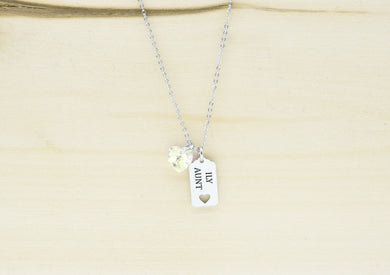 Dainty Frame Necklace Made With Precision Cut Crystal By Pink Box