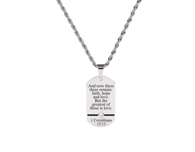 Bible Verse Tag Necklace Made With Crystals from Swarovski by Pink Box