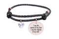 Leather Inspirational Bracelet with AB Heart Crystal from Swarovski - Rose Gold