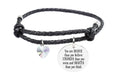 Leather Inspirational Bracelet with AB Heart Crystal from Swarovski - Silver
