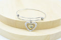 Inspirational Heart Outline Expandable Wire Bangle With Swarovski By Pink Box