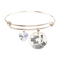 Pink Box Stainless Steel Bangle with Crystal from Swarovski - Gold