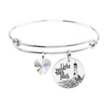Pink Box Stainless Steel Bangle with Crystal from Swarovski - Silver