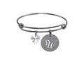Solid Stainless Steel Adjustable Initial Bangle Made With Swarovski By Pink Box