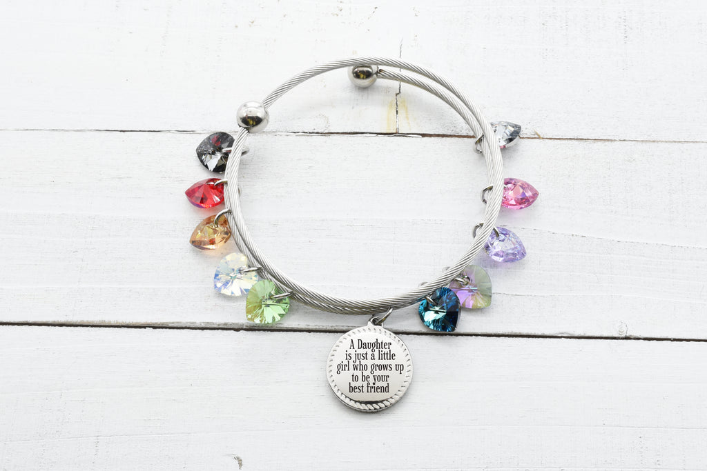 Luck Pink Box Inspirational Heart Wire Bangle Silver