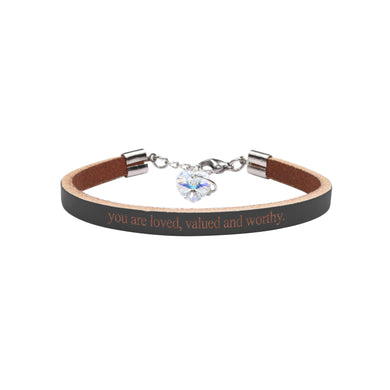 Genuine Leather Bracelet Made With Crystals From Swarovski