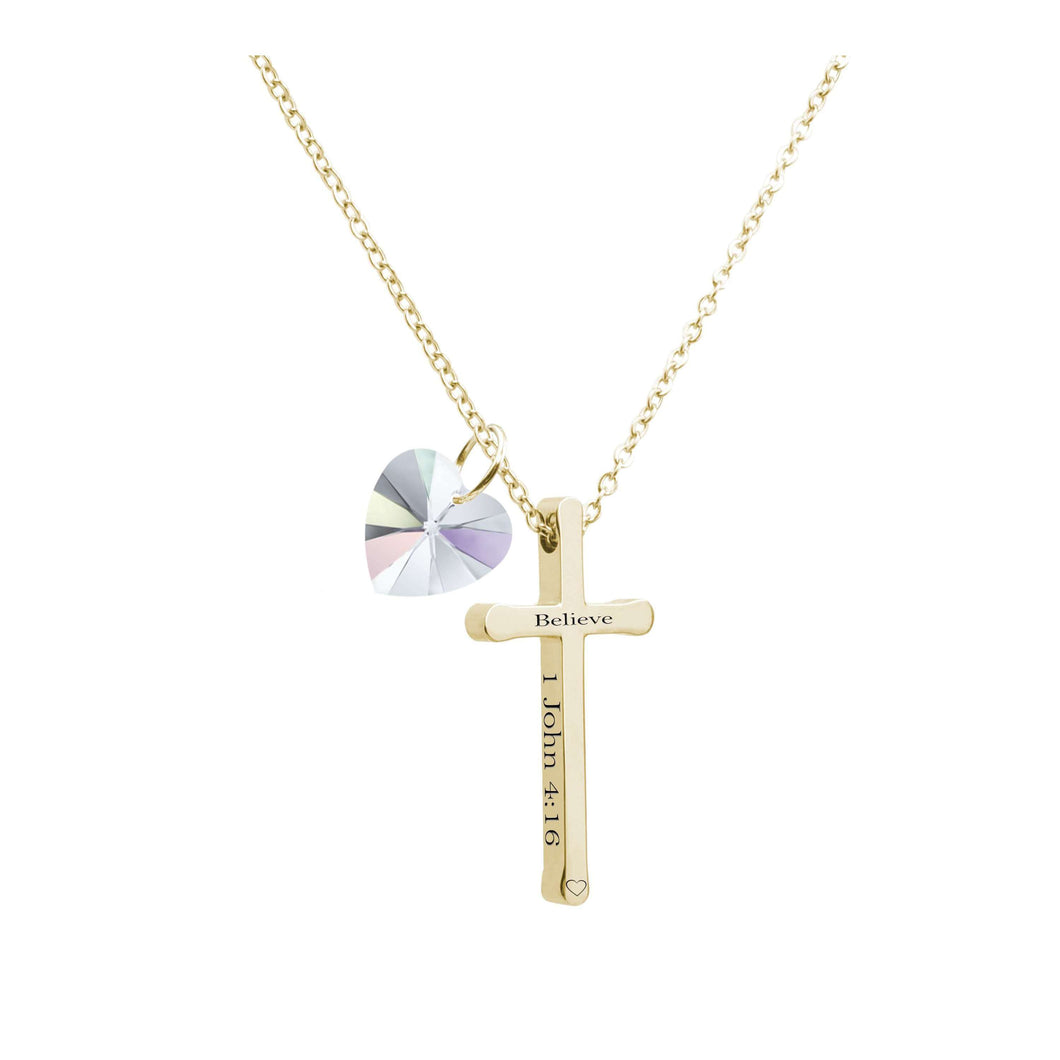 Cross Necklace Made With Crystals From Swarovski