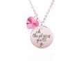 Pink Box Dainty Inspirational Disc Necklace Made With Crystals From Swarovski