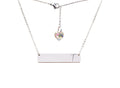Horizontal Bar Initial Necklace Made With Swarovski By Pink Box