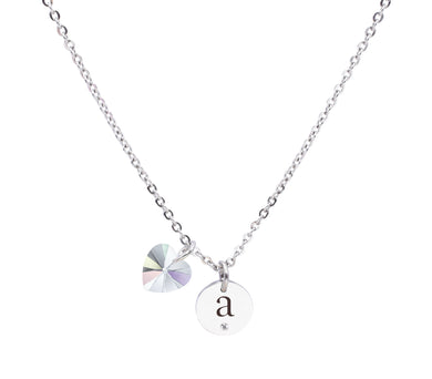 Dainty Initial Necklace made with Crystals from Swarovski by Pink Box
