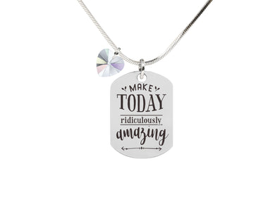 Inspirational Tag Necklace In AB Made With Crystals From Swarovski By Pink Box