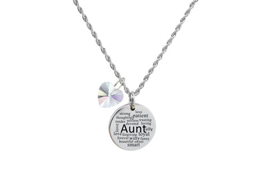 Thick Disc Special Message Necklace with Crystals from Swarovski by Pink Box