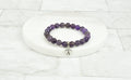 Women's Natural Amethyst With Tiny Heart Intial Charm Bracelet By Pink Box