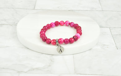 Women's Natural Pink Agate With Tiny Heart Intial Charm Bracelet By Pink Box