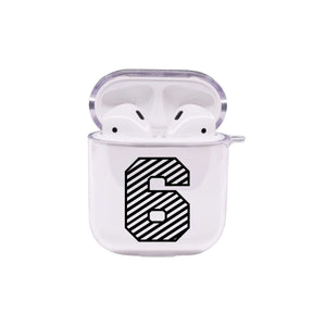 Stripe Numbers Airpod Protective Clear Case By Pink Box