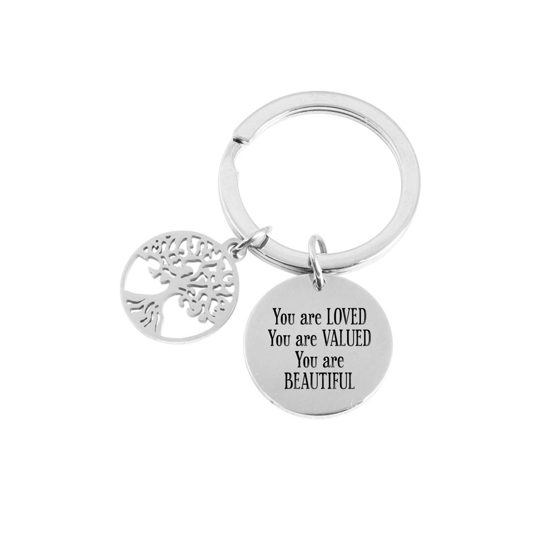 Stainless Steel Tree Of Life Keychain