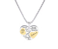 Two Tone Solid Stainless Steel Heart Pendant Necklace by Pink Box