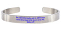 8Mm Solid Stainless Steel Colored Scripture Cuff In Silver By Pink Box