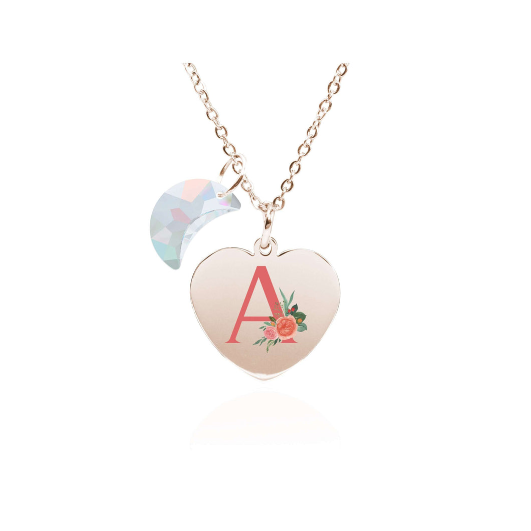 Floral Initial Heart Necklace Made With Swarovski Crystals By Pink Box