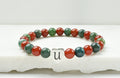 Genuine Agates and Aveneturine Holiday Themed Inital Beaded Bracelet By Pink Box