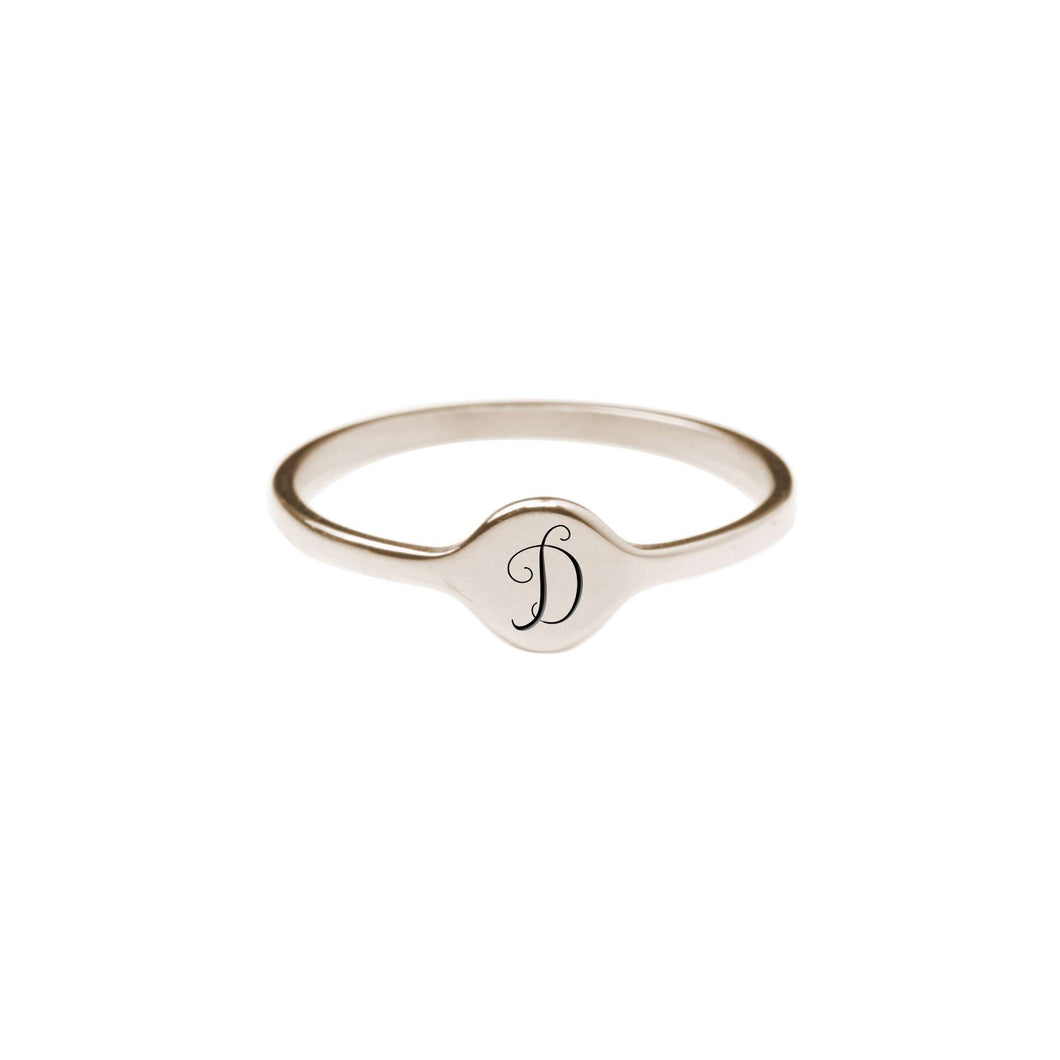 D Comfort Fit Initial Mono Ring