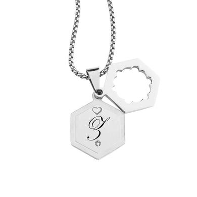 Double Hexagram Initial Necklace With Cubic Zirconia By Pink Box