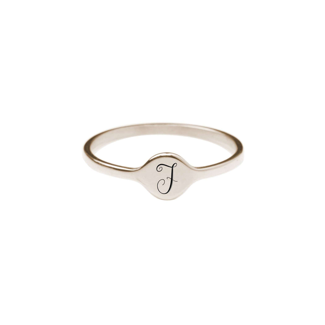 F Comfort Fit Initial Mono Ring