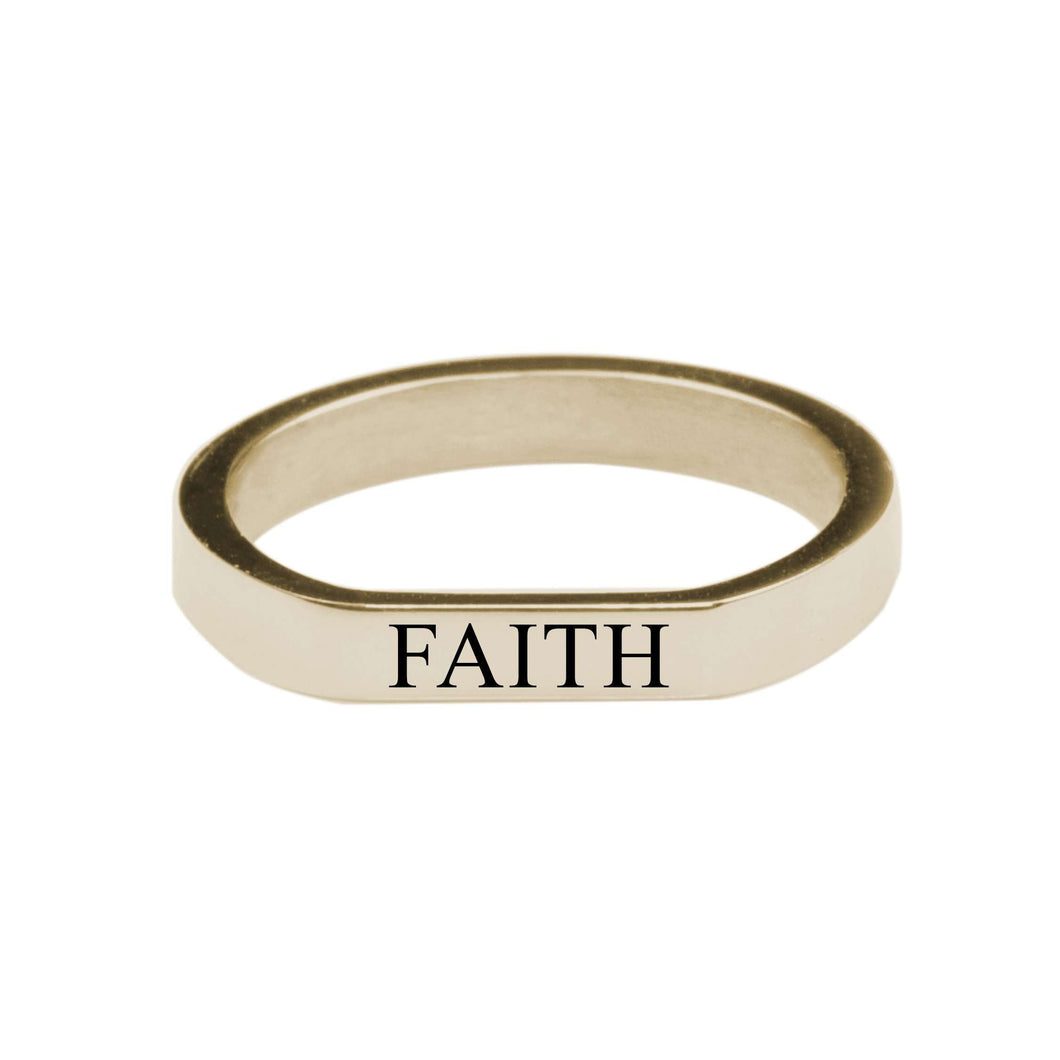 Faith Comfort Fit Flat Ring