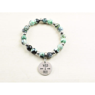 Genuine Green Agate Inspirational Bracelet