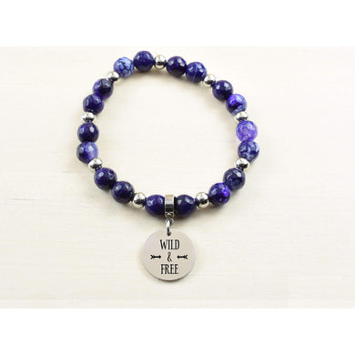 Genuine Purple Agate Inspirational Bracelet