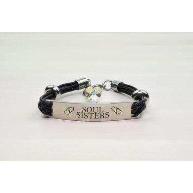 Genuine Leather Id Bracelet With Crystals From Swarovski