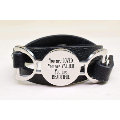 Genuine Leather Multi Wrap Inspirational Bracelet