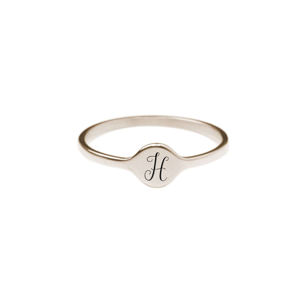 H Comfort Fit Initial Mono Ring