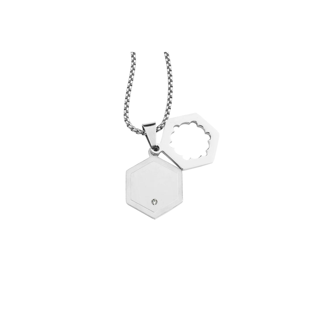 Hexagon Pendant Necklace With Cubic Zirconia
