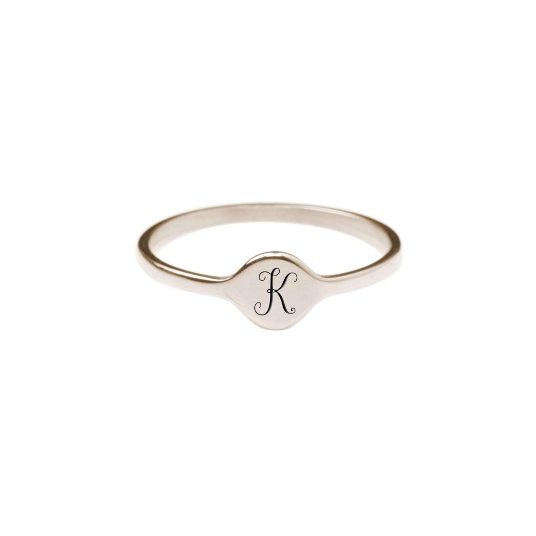 K Comfort Fit Initial Mono Ring
