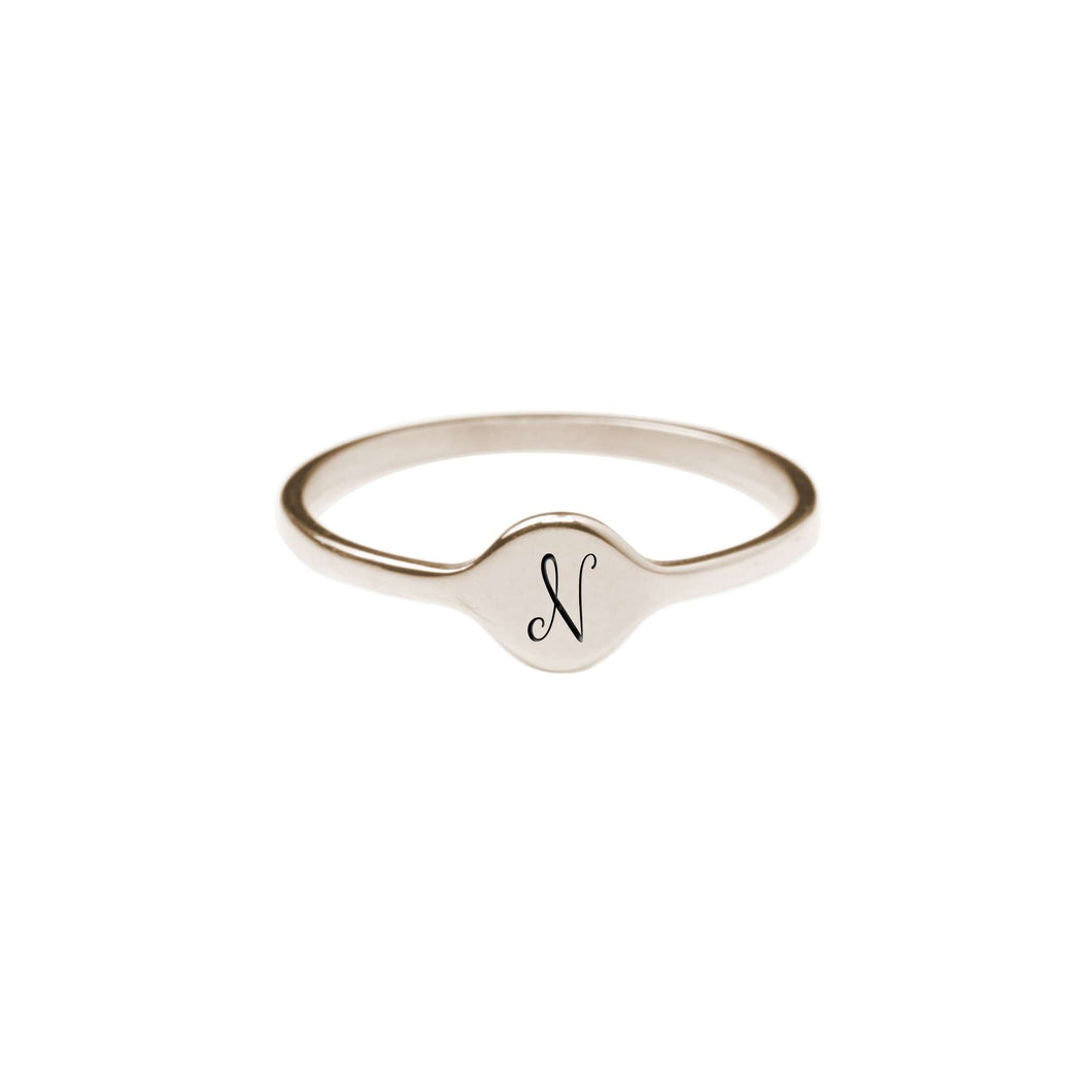 N Comfort Fit Initial Mono Ring