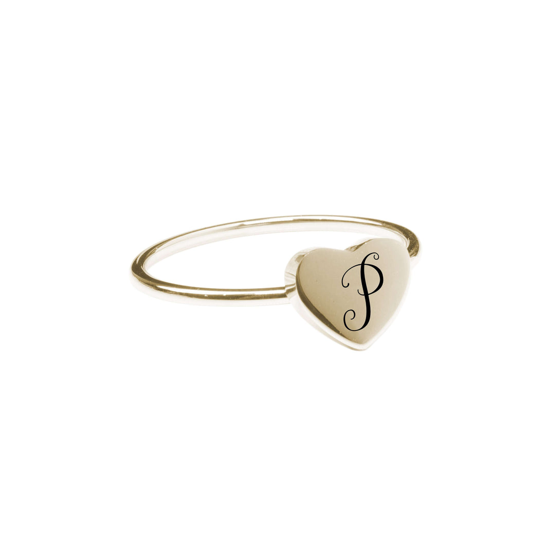 P Comfort Fit Initial Heart Ring